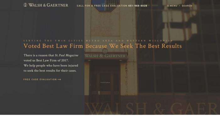 banner image of the Walsh and Gaertner website