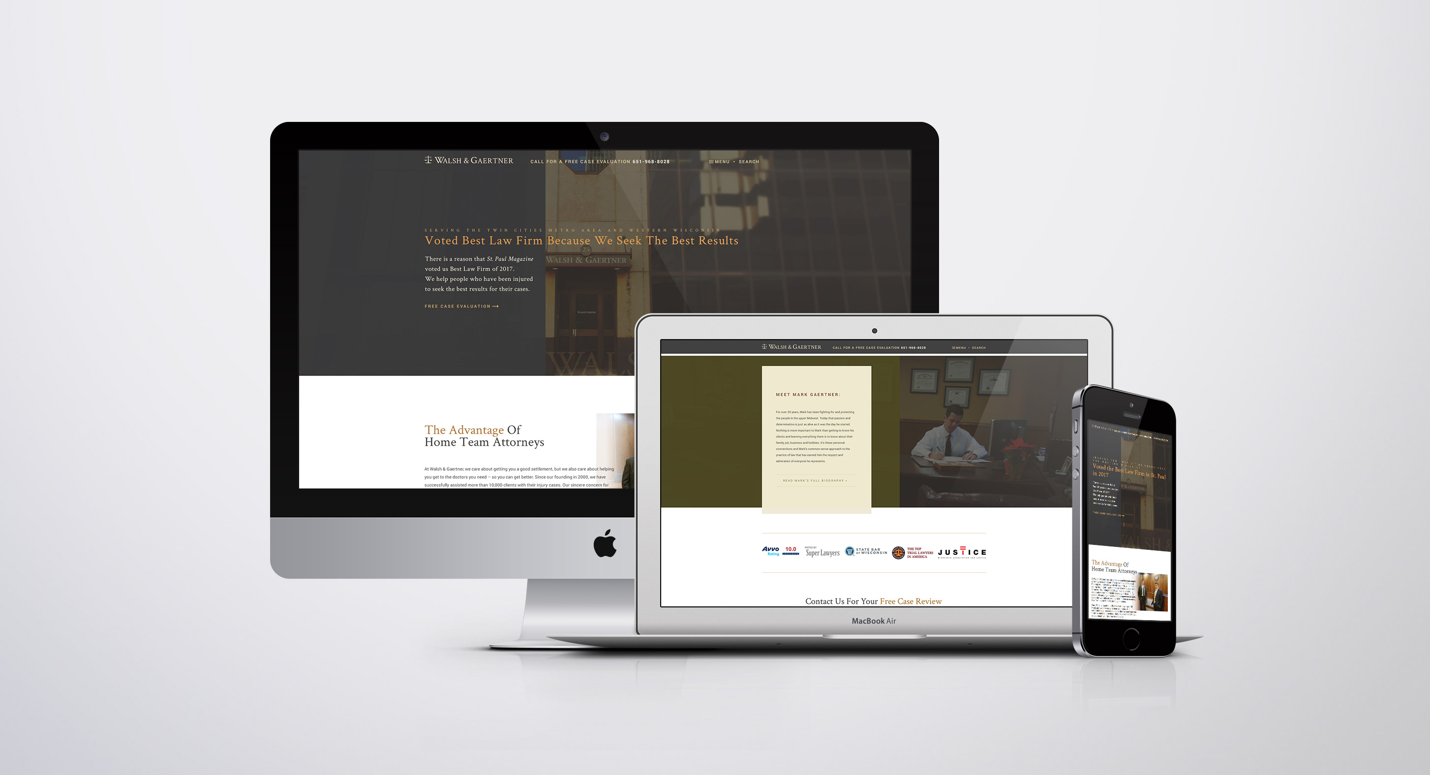 composite photo of the updated Walsh and Gaertner website in multiple device formats.